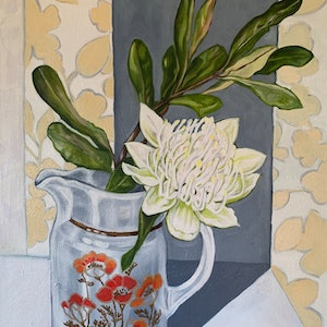 (CreativeWork) Retro Royal Doulton and White Waratah by Alicia Cornwell. oil-painting. Shop online at Bluethumb.