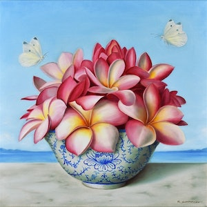 (CreativeWork) Frangipani in blue and white bowl by Natasha Junmanee. oil-painting. Shop online at Bluethumb.