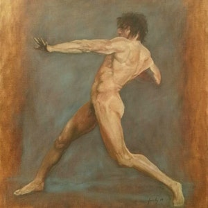 (CreativeWork) Dynamic figure oil painting  by Adela Vojnovic. oil-painting. Shop online at Bluethumb.