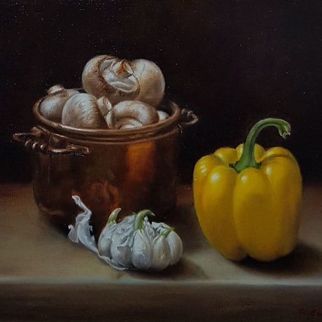 (CreativeWork) Still life of Capsicum and Mushrooms by Natasha Junmanee. Oil Paint. Shop online at Bluethumb.