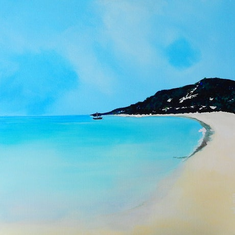 (CreativeWork) Tangalooma Beach - Looking North by julie hollis. Acrylic Paint. Shop online at Bluethumb.
