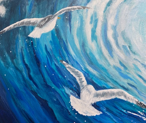 (CreativeWork) Wave and seagulls by Tom Roso. Acrylic Paint. Shop online at Bluethumb.