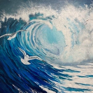 (CreativeWork) Wave and seagulls by Tom Roso. acrylic-painting. Shop online at Bluethumb.