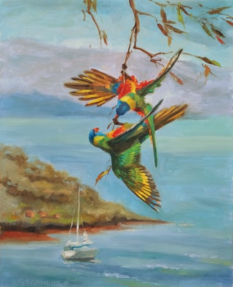 (CreativeWork) Airlie rainbow by Katia Strounina. Oil Paint. Shop online at Bluethumb.