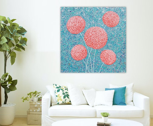 (CreativeWork) Flowers - Pink Textured Abstract by Miranda Lloyd. Mixed Media. Shop online at Bluethumb.