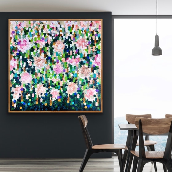 (CreativeWork) On sale Hydrangeas 122x122 framed large abstract  by Sophie Lawrence. Acrylic Paint. Shop online at Bluethumb.