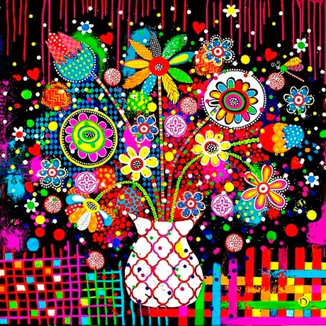 (CreativeWork) 'COLORBURST' Original Painting  by Donna Sharam. Acrylic Paint. Shop online at Bluethumb.
