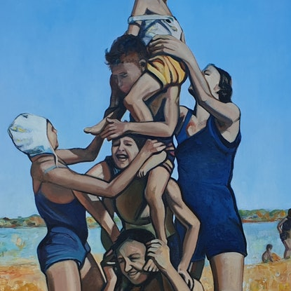 (CreativeWork) The Human Totem Pole by Sherry McCourt. Oil Paint. Shop online at Bluethumb.