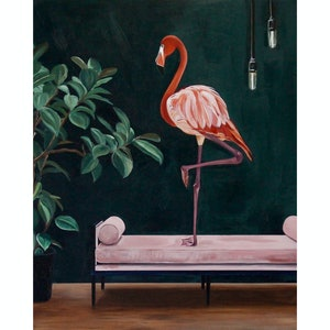 (CreativeWork) Not Your Plastic Yard Flamingo  by Bonnie Larden. acrylic-painting. Shop online at Bluethumb.