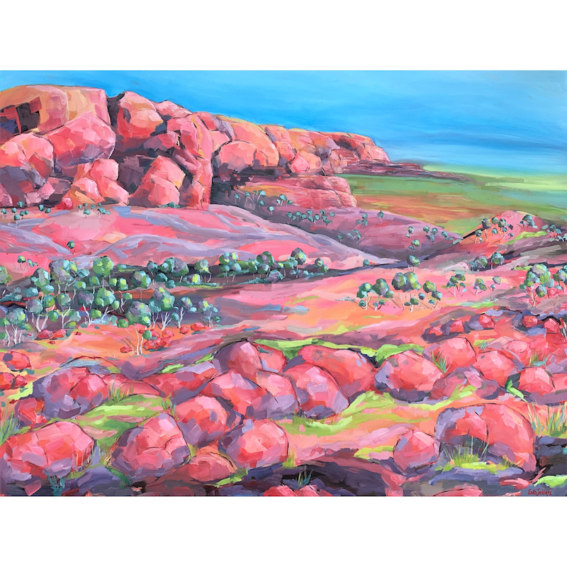 (CreativeWork) Near King's Canyon - Northern Territory - Painted Landscape Series  by Eve Sellars. #<Filter:0x00007f26c6d22f78>. Shop online at Bluethumb.