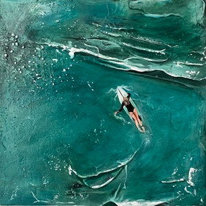 (CreativeWork) Teal Waters by Bonnie Larden. acrylic-painting. Shop online at Bluethumb.