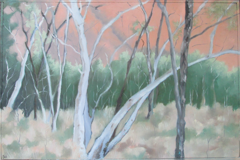 (CreativeWork) Near the Rock by Janelle White. Oil Paint. Shop online at Bluethumb.