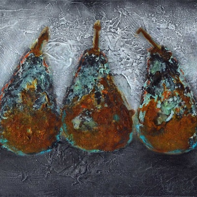 (CreativeWork) THREE RUSTIC PEARS by GILLIAN ROULSTON. mixed-media. Shop online at Bluethumb.
