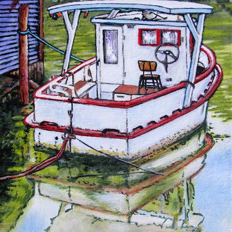 (CreativeWork) A Boat Afloat at Donovans by Jillian Crider. Acrylic Paint. Shop online at Bluethumb.