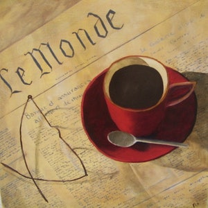 (CreativeWork) Let's Have Coffee by Dianne Fix. Oil Paint. Shop online at Bluethumb.