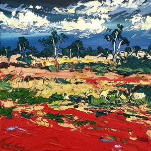 (CreativeWork) Red Centre 3 by Angela Hawkey. oil-painting. Shop online at Bluethumb.