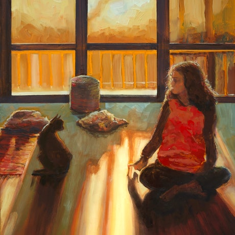 (CreativeWork) The Conversation (framed) by fiona smith. Oil Paint. Shop online at Bluethumb.