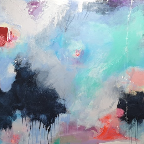 (CreativeWork) LARGE ABSTRACT - A  beautiful adventure  by Fiona Hill. Acrylic Paint. Shop online at Bluethumb.