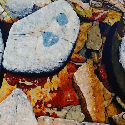 (CreativeWork) White Rock by Daniel Beresford. oil-painting. Shop online at Bluethumb.