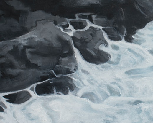 (CreativeWork) Rock'n waves (Lighthouse Beach, Port Macquarie, NSW) by Michelle Angelique. Acrylic Paint. Shop online at Bluethumb.