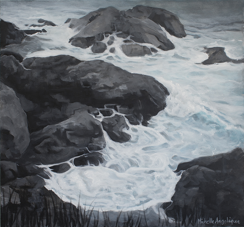 (CreativeWork) Rock'n waves (Lighthouse Beach, Port Macquarie, NSW) by Michelle Angelique. acrylic-painting. Shop online at Bluethumb.
