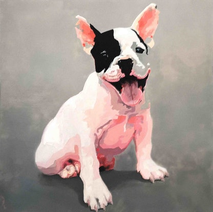 (CreativeWork) Puppy in Pink Ed. 2 of 50 by Karen Bloomfield. Print. Shop online at Bluethumb.