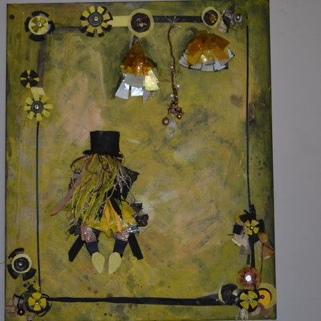 (CreativeWork) Golden Nights by Melanie Duncan. Mixed Media. Shop online at Bluethumb.