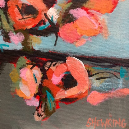 (CreativeWork) Real Wild - Happy Flowers Series by Jen Shewring. Acrylic Paint. Shop online at Bluethumb.