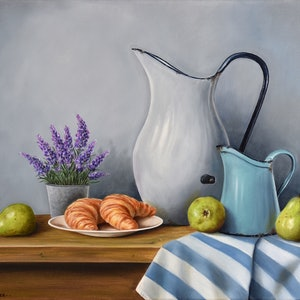 (CreativeWork) Country Breakfast - Still life by Natasha Junmanee. Oil Paint. Shop online at Bluethumb.