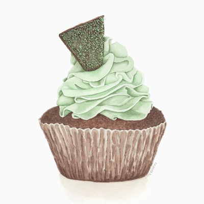 (CreativeWork) Choc Mint Cupcake by Debbie Brophy. watercolour. Shop online at Bluethumb.