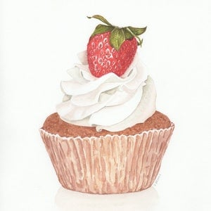 (CreativeWork) Strawberries & Cream Cupcake by Debbie Brophy. watercolour. Shop online at Bluethumb.