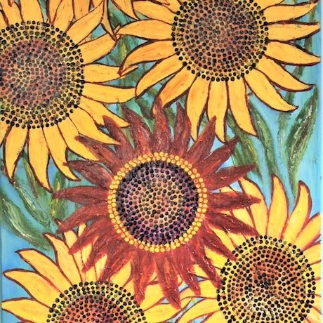 (CreativeWork) Dancing Sunflowers (1 of 2)  by Corinne Young. Oil Paint. Shop online at Bluethumb.