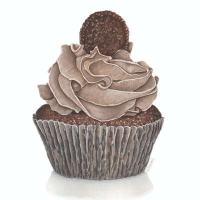 (CreativeWork) Oreo & Chocolate Cupcake by Debbie Brophy. watercolour. Shop online at Bluethumb.