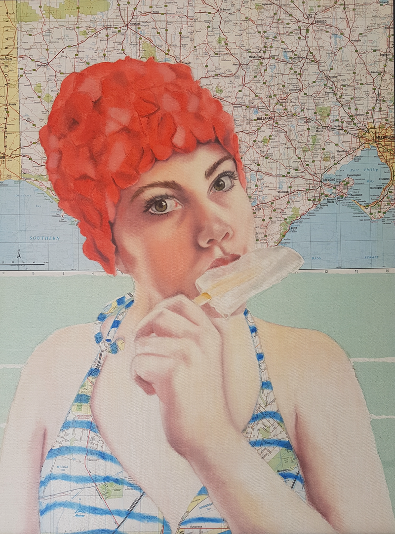 (CreativeWork) Lemonade Girl by Elise Judd. Mixed Media. Shop online at Bluethumb.