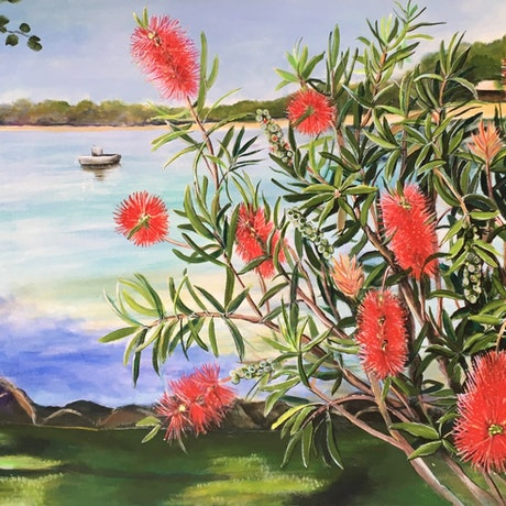 (CreativeWork) Bottlebrush at Sydney Cove by Jennifer Mitchelson. Acrylic Paint. Shop online at Bluethumb.