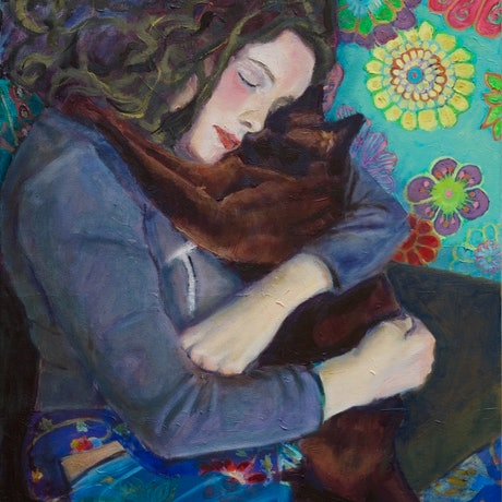 (CreativeWork) Entwined, girl and cat (framed) by fiona smith. Oil Paint. Shop online at Bluethumb.