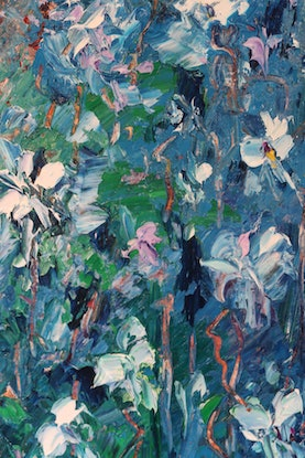 (CreativeWork) Abstract -Wild Irises by Maria Cross. Oil Paint. Shop online at Bluethumb.