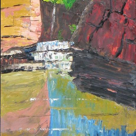(CreativeWork) gorge reflections by Andrew BARR. Oil Paint. Shop online at Bluethumb.