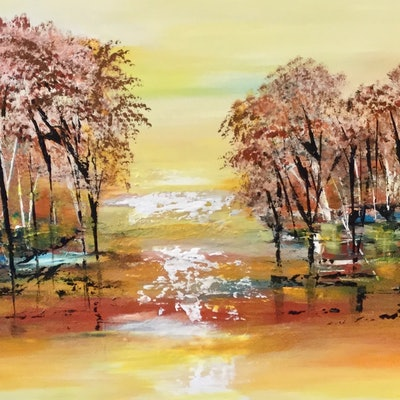 (CreativeWork) Mystique Wetlands  by Carol Lindsay. acrylic-painting. Shop online at Bluethumb.