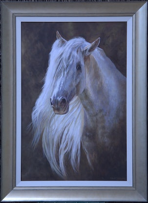 (CreativeWork) Andalusian Stallion by Craig Taylor. Oil Paint. Shop online at Bluethumb.