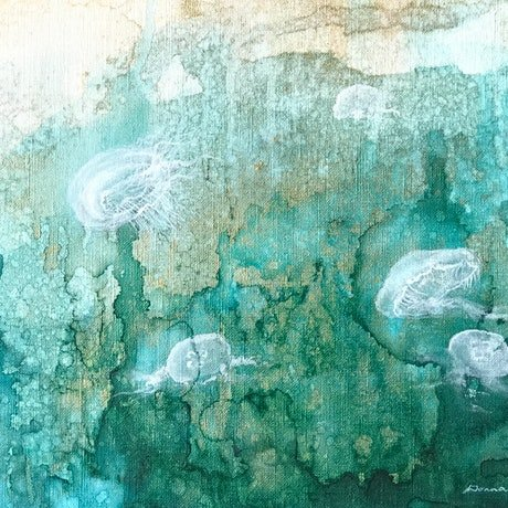 (CreativeWork) Moon Jellyfish by Donna Maloney. Mixed Media. Shop online at Bluethumb.