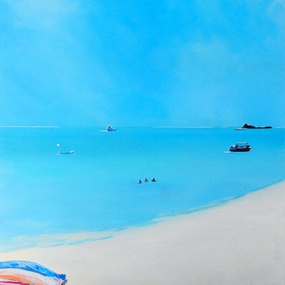 (CreativeWork) Day Out at Tangalooma by Julie Hollis. acrylic-painting. Shop online at Bluethumb.