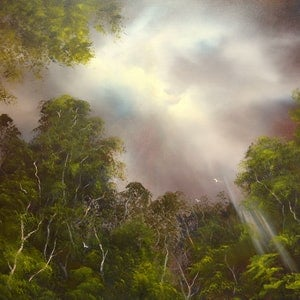 (CreativeWork) Light in the Tarkine by Elaine Green. oil-painting. Shop online at Bluethumb.