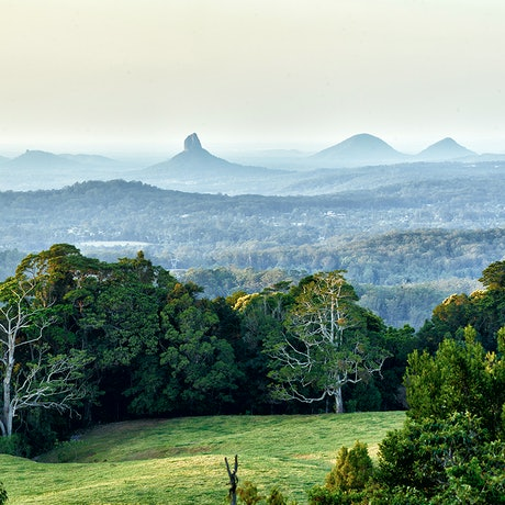 (CreativeWork) Glass House Mountains  Sunshine Coast QLD by Jim Gow. Photograph. Shop online at Bluethumb.
