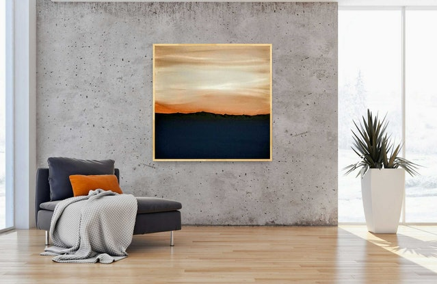 (CreativeWork) Large Framed Abstract Seascape - Beach Art- Copper Skys by Josephine Ann Pitsiava. Mixed Media. Shop online at Bluethumb.