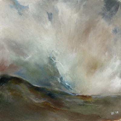 (CreativeWork) Abstract landscape oil painting  - Storm Cloud Descending  by Lamice Ali. oil-painting. Shop online at Bluethumb.