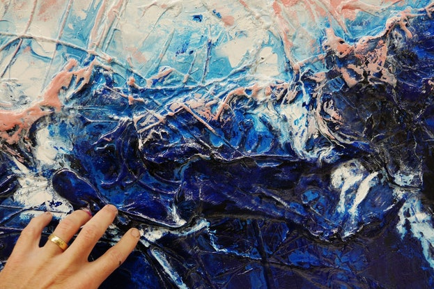 (CreativeWork) Sorrento Pink 190cm x 100cm  Blue Pink Texture Ink Acrylic Gloss Finish Abstract by _Franko _. Acrylic Paint. Shop online at Bluethumb.