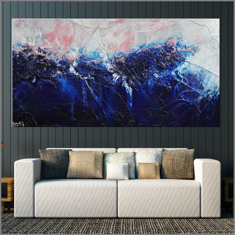 (CreativeWork) Sorrento Pink 190cm x 100cm  Blue Pink Texture Ink Acrylic Gloss Finish Abstract by _Franko _. acrylic-painting. Shop online at Bluethumb.