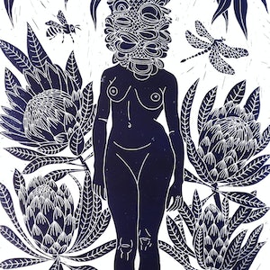 (CreativeWork) Betty Banksia Lino print Ed. 25 of 150 by Marinka Parnham. print. Shop online at Bluethumb.