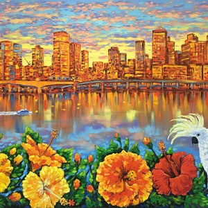 (CreativeWork) Brisbane Summer Morning – Cockatoo and Hibiscus Flowers by Irina Redine. oil-painting. Shop online at Bluethumb.
